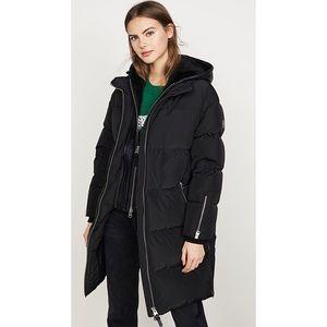 Mackage Faffy puffer coat long leather hood